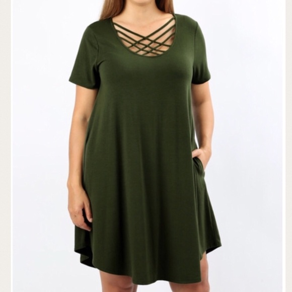 Dresses | Olive Green Plus Size Tunic Dress Top 1x 2x 3x | Poshmark